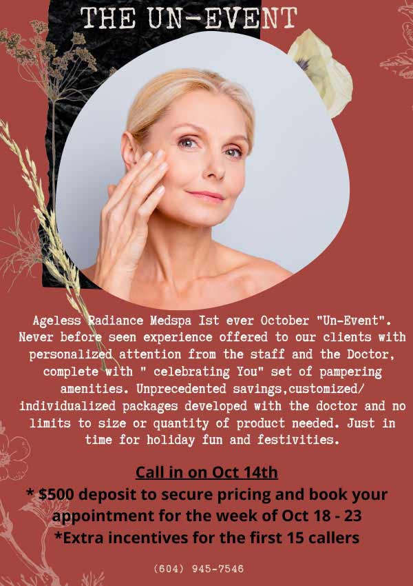 Events at Ageless Radiance Med Spa Coquitlam BC